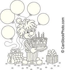 Circus clown with a birthday cake