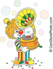 Circus clown with a gramophone
