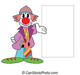 circus clown with memo board