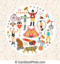 Circus collection. - Circus. Vintage icons collection. The...