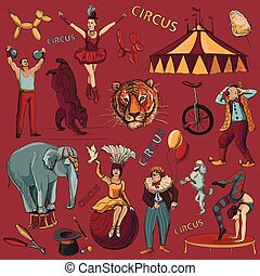 Circus. Collection of hand drawn icons