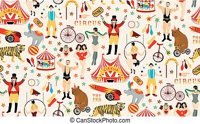 Circus collection. - Circus. Vintage Seamless Pattern. The...