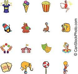 Circus comics icons set cartoon