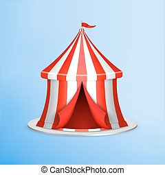 Circus tent on blue