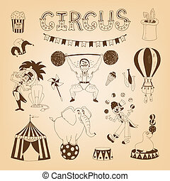 circus design elements - vintage circus elements for poster...