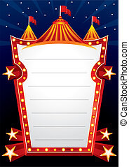 Circus design - Poster with big circus marquee and stars