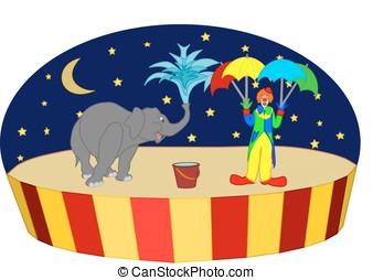Circus elephant & clown