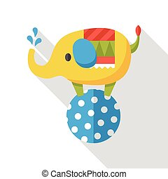 circus elephant flat icon