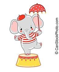 Circus elephant illustration.