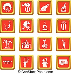 Circus entertainment icons set red
