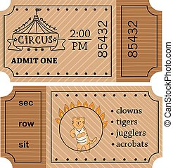 Circus entrance vector tickets templates. Doodle style.