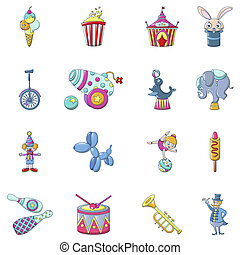 Circus fun show icons set, cartoon style - Circus fun show...