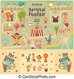 Circus Funfair and Carnival Poster in Vintage Style. Cartoon...