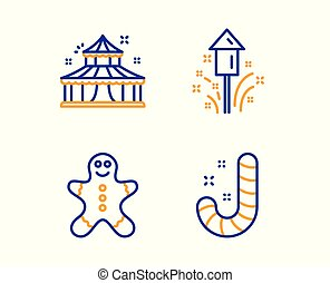 Circus, Gingerbread man and Fireworks icons set. Candy sign. Vector