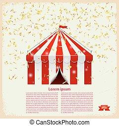 circus, groot bovenst, met, goud, confetti