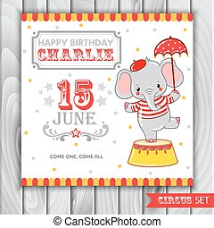 Circus happy birthday card design.