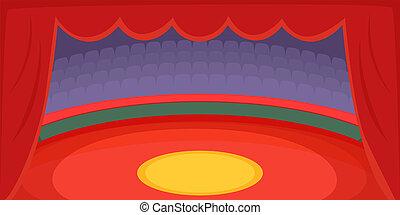 Circus horizontal banner arena, cartoon style - Circus...