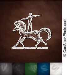 circus horse icon. Hand drawn vector illustration