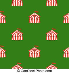 Circus Icon Seamless Pattern on Green Background