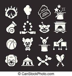 Circus icons set grey vector
