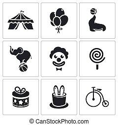 Circus Icons set - Circus Icon collection on a white...