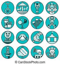 Circus icons set line