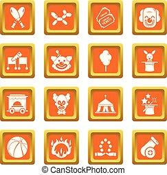 Circus icons set orange square vector