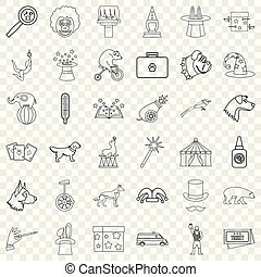 Circus icons set, outline style