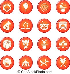 Circus icons set red vector