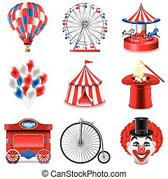 Circus icons vector set