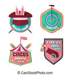 Circus icons vector set of clown, magic hat and rabbit