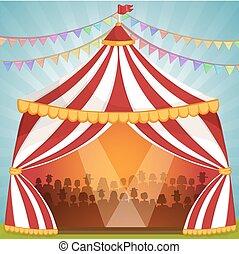 circus, illustratie, tentje