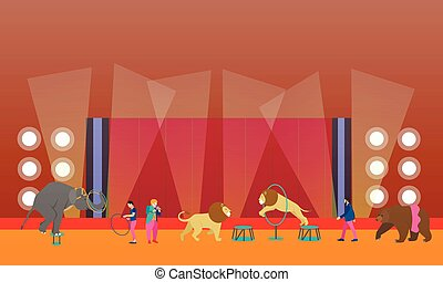 Circus interior concept vector banner. Artists perform show in arena. Animals performance.