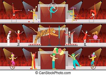 Circus interior set.