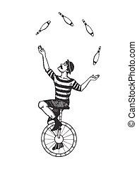 Circus juggler engraving vector - Circus juggler vector...
