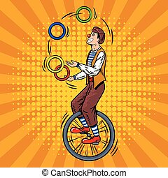 Circus juggler on unicycle pop art vector - Circus juggler...