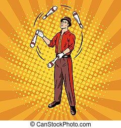 Circus juggler pop art style vector illustration