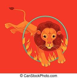 Circus lion character jumping through fire ring. Vector flat cartoon illustration