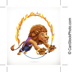 Circus lion jumping through a flaming hoop, fire show, vector icon mesh