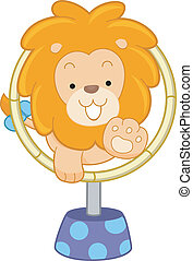 Circus Lion Jumping Through Hoop Front View