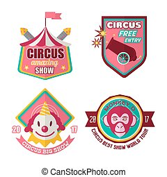 Circus logo labels in colors isolated on white