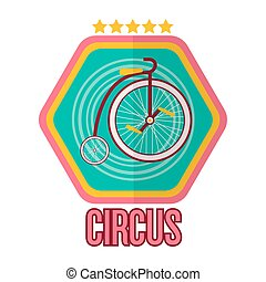 Circus logotype with special bike isolated on white