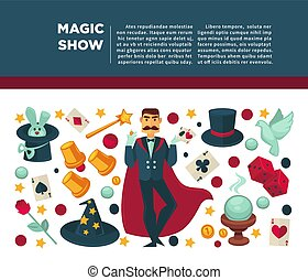 Circus magic show and magician vector poster