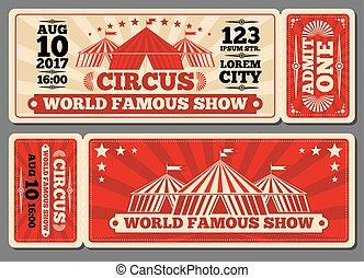 Circus magic show entrance vector tickets templates. Ticket...