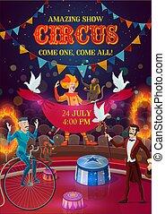 Circus magician, clown, acrobat, jugglers on arena