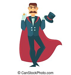 Circus magician man with magic hat vector flat icon