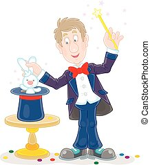 Circus magician with a magic wand
