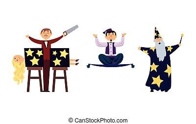 Circus Magicians Characters Performing Tricks at Magic Show Set Vector Illustration