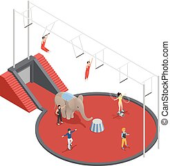 Circus Manege Isometric Composition - Circus isometric...