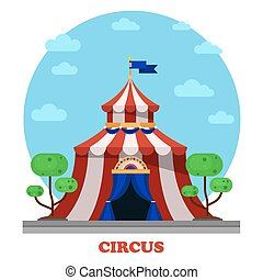 Circus marquee or tent front view